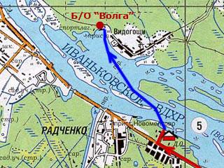 До турбазы Волга на лодке