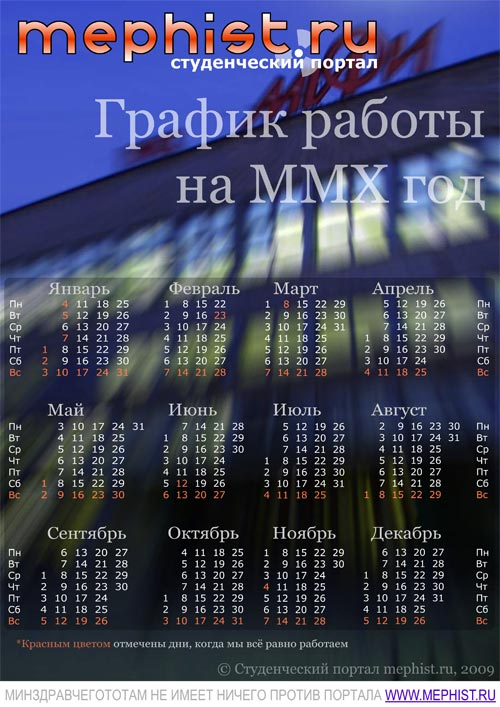 График работы портала mephist.ru на 2010 год