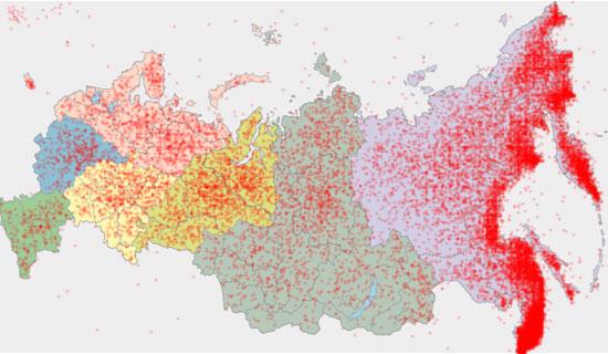 Владивосток на карте России (25 тысяч опрошенных)